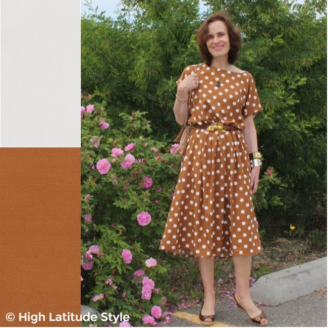 over 50 years old woman in Pantome tofu and russet orange polka dot dress