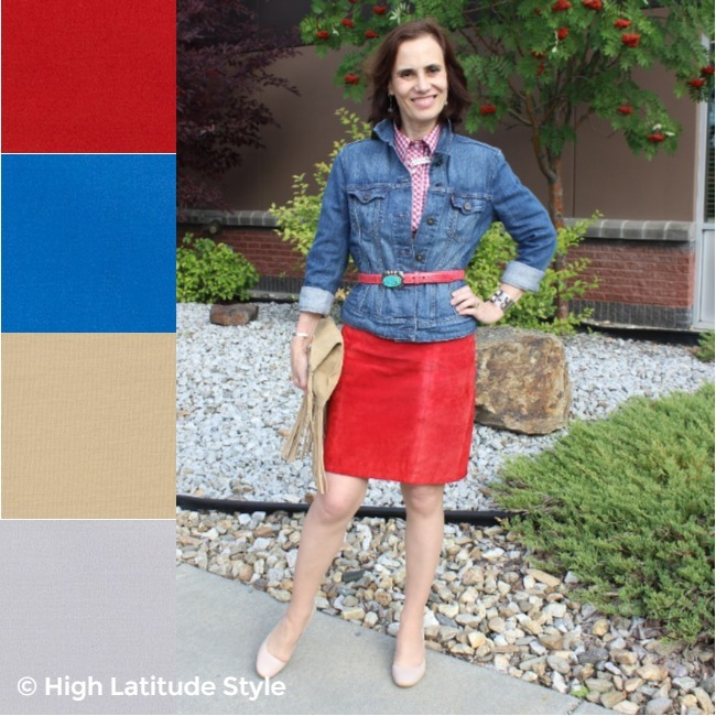 #over50fashion woman in red-pear, gray, buffed almond, tofu, nebulas blue skirt, shirt jacket, pumps look