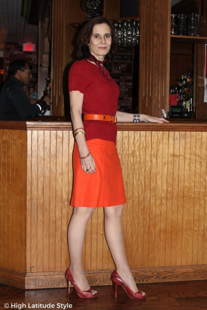 over 50 years old Nicole in red-orange office separates