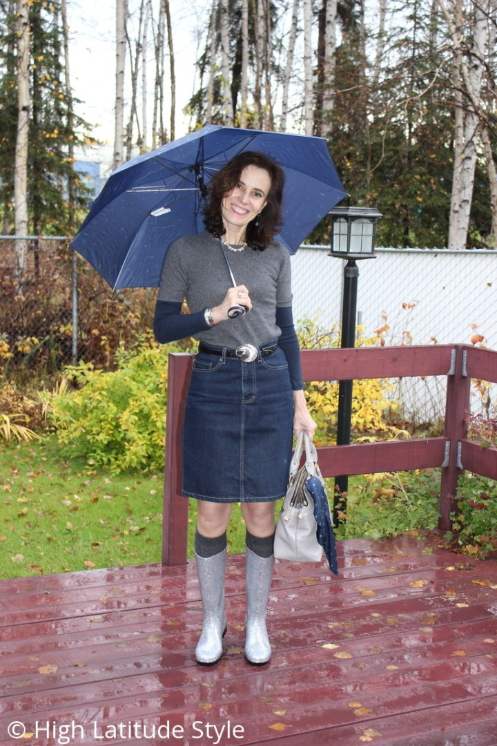 Nicole of High Latitude Style wearing a blue, gray silver casual look with DKSUKO robber booties