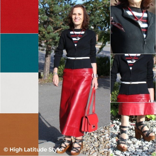 #fashionover50 woman wearing black, red-pear, teal, tofu and russet-orange in one outfit