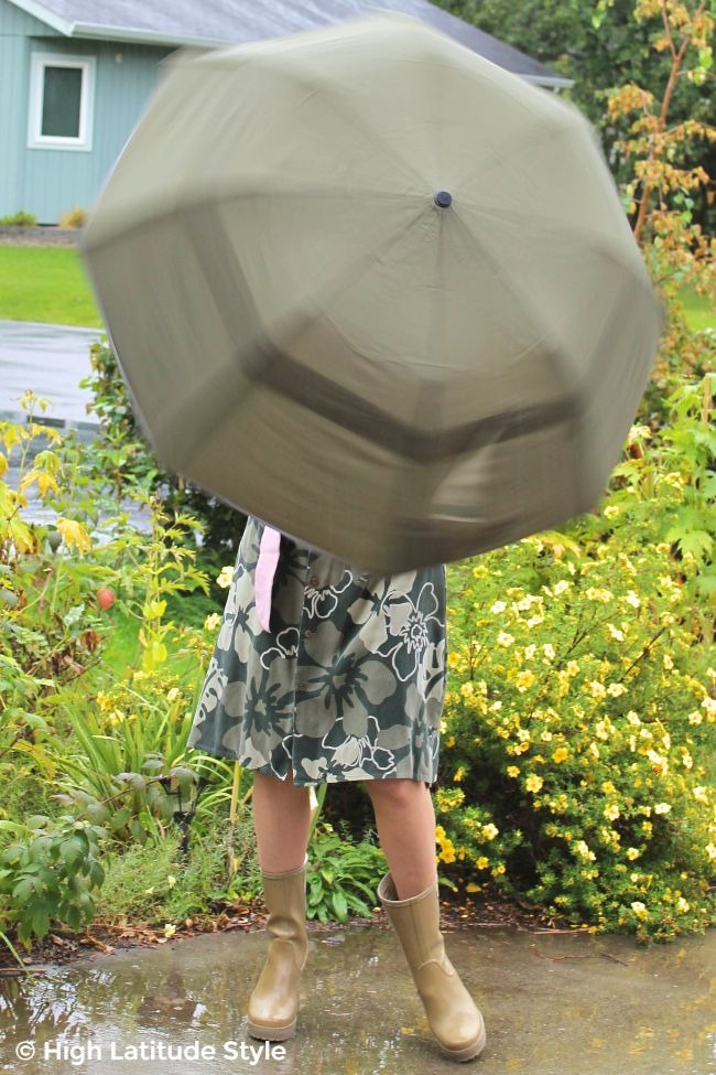 #Weatherman woman twirling an umbrella