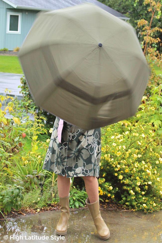 #Weatherman woman twirling an umbrella