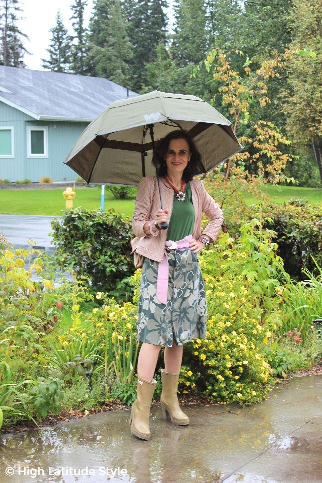 #maturestyle weatherwoman with rain protective gear #Weatherman