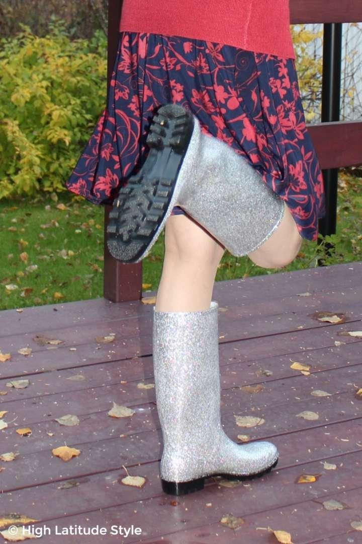#DKSUKO glittery silver rain boots