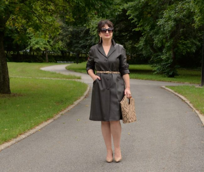 NY resident from Poland, Krystyna Kantwicz wearing a leather coat