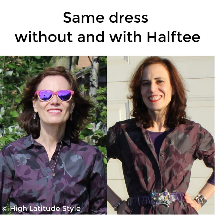 Same dress without and with halftee underneath