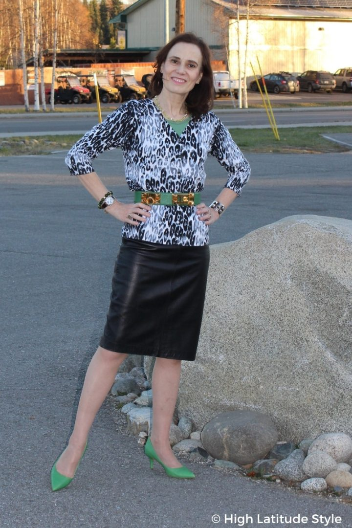 #over50fashion style blogger Nicole in layered office outfit