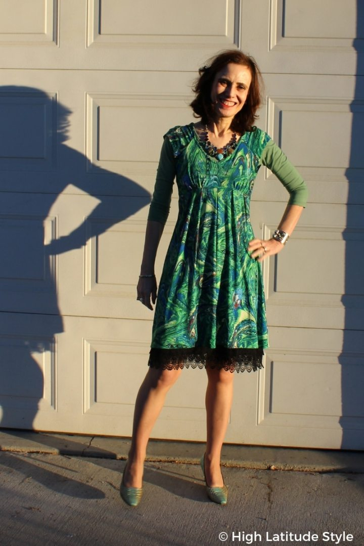 #fallstyleover50 High Latitude Style in summer dress dressed for fall by layering