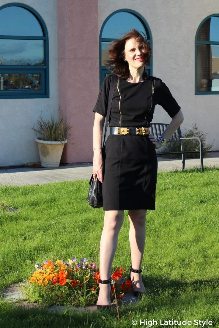 #midlifestyle mature woman in LBD with studded belt and pumps