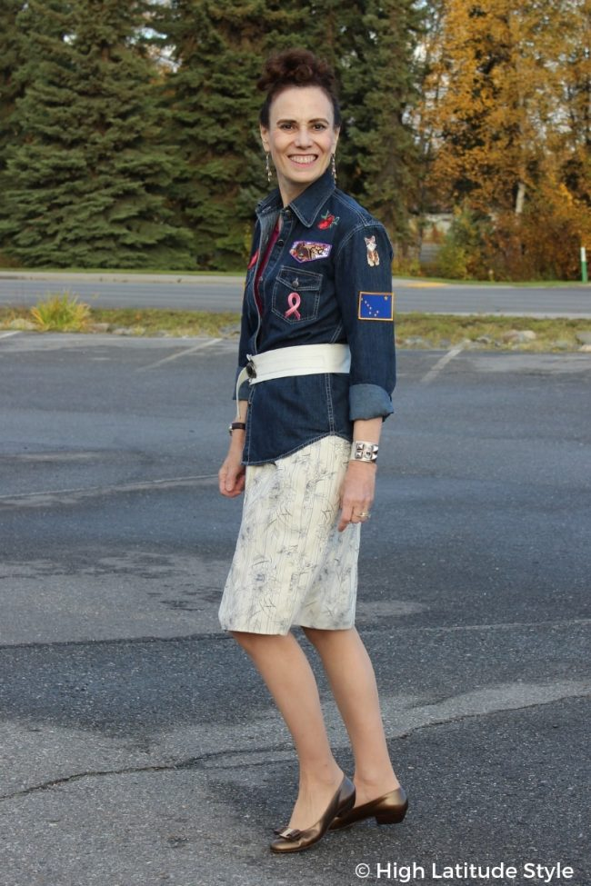 stylist wearing the shacket trend with a skirt