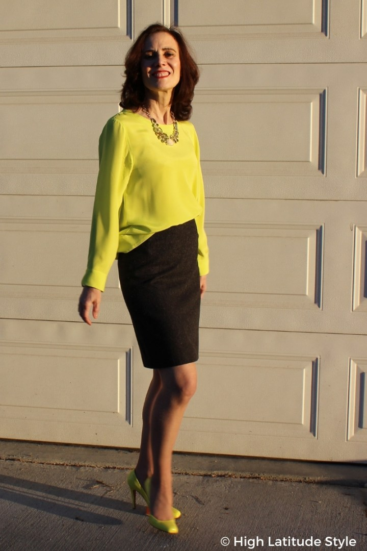 #fashionover50 5 ft 4 blogger looking tall in heels and above the knee skirt