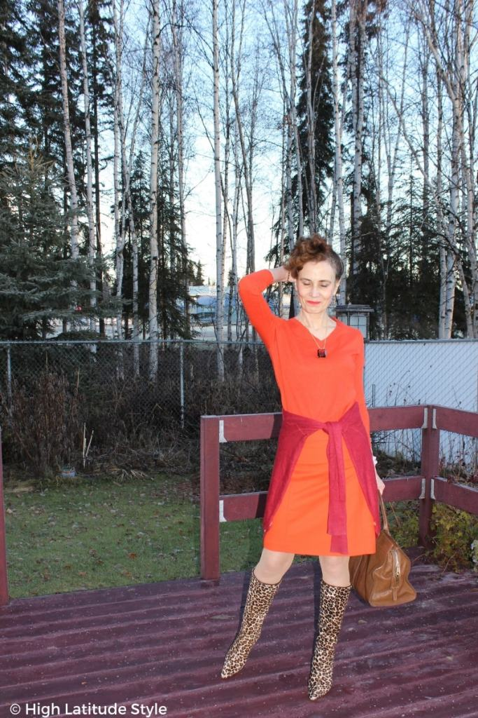 #over50fashion style blogger Nicole in autumn colors with leopard print boots