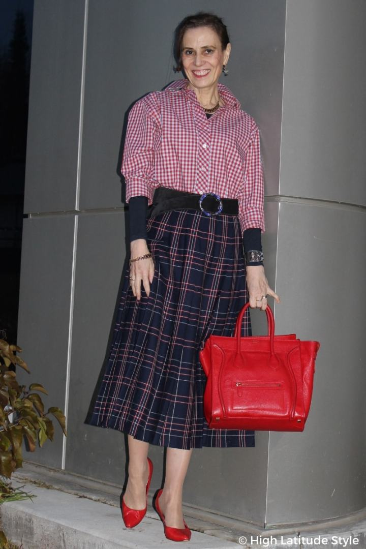 #over50style Nicole in mixed pattern with red heels