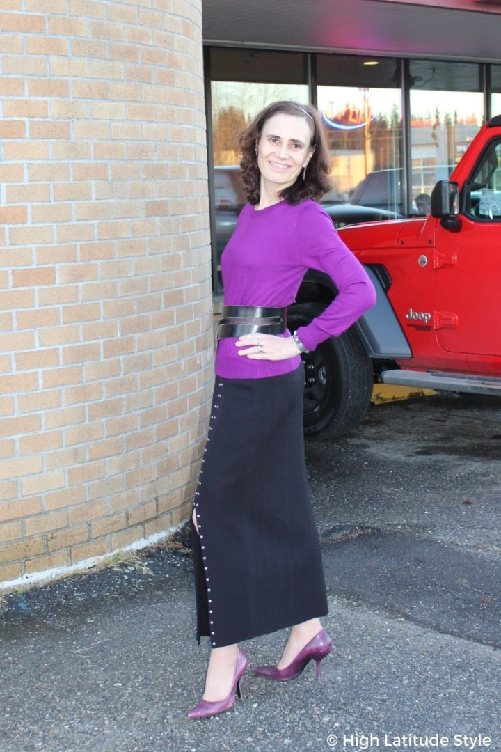 #over50chic mature fashion blogger in maxi skirt with slit, purple pumps and sweater