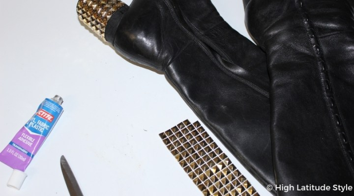 #DIY #upcycling footwear after cluing on studs to make them look trendy