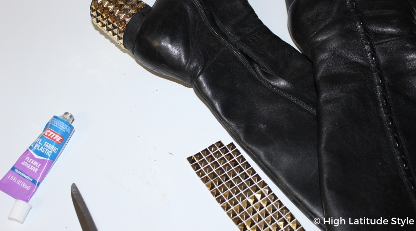 DIY shoes after clueing on studs to make them look trendy