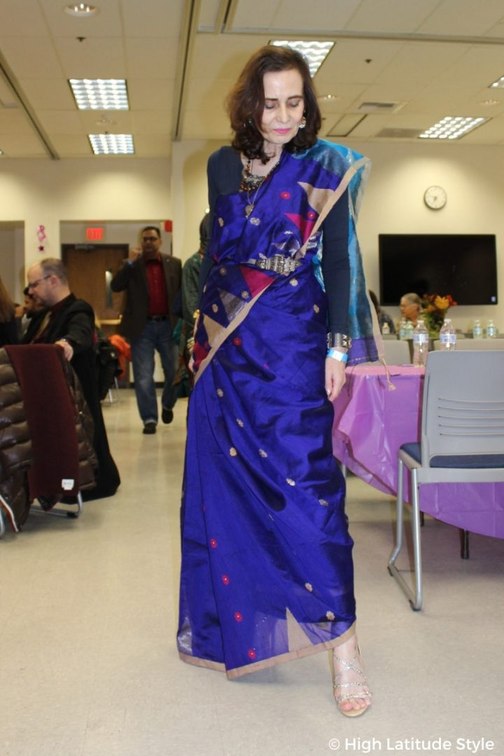 #Diwalistyle mature woman in Indian look and jewelry at a Diwali party