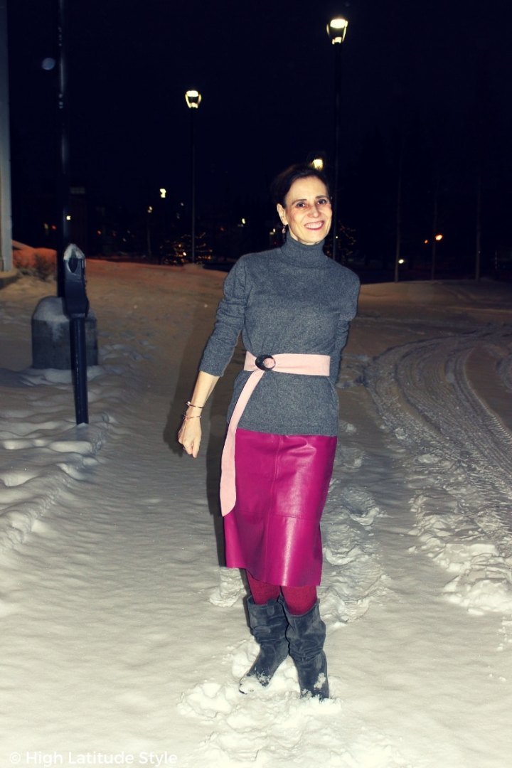 CEO of High Latitude Style walking down the snowy street
