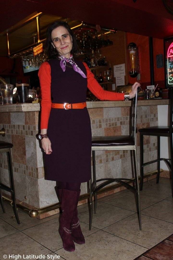 #over50fashion Nicole in burgundy and orange sheath work look