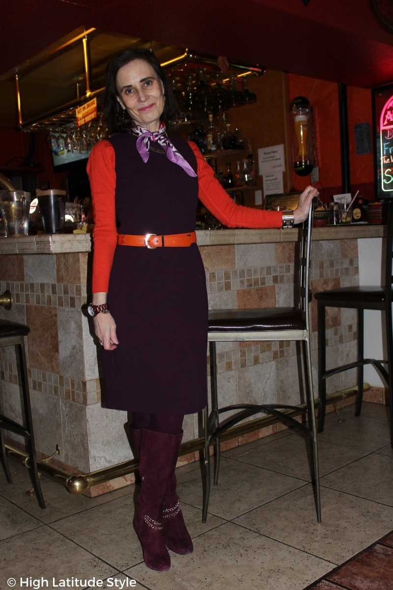 Alaskan fashion blogger Nicole in burgundy and orange sheath work look