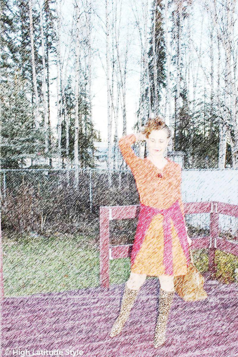 ebook fashion coloring page example with color pencil