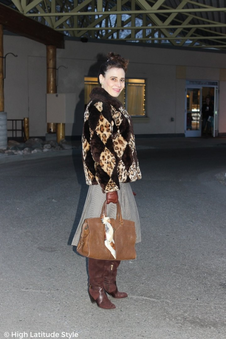 over 50  years old style blogger in diamond pattern jacket winter jacket