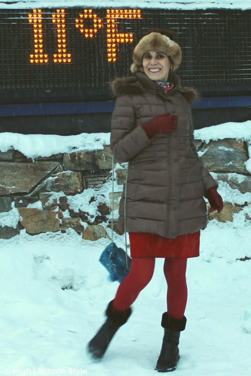 #streetstyle Alaskan woman beating the cold in a classic with a twist winter robe