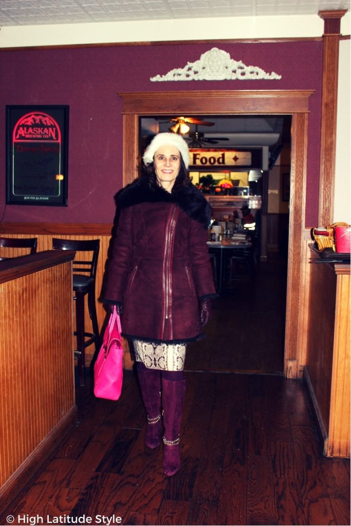 Style blogger Nicole entering a lunch placein winter outerwear