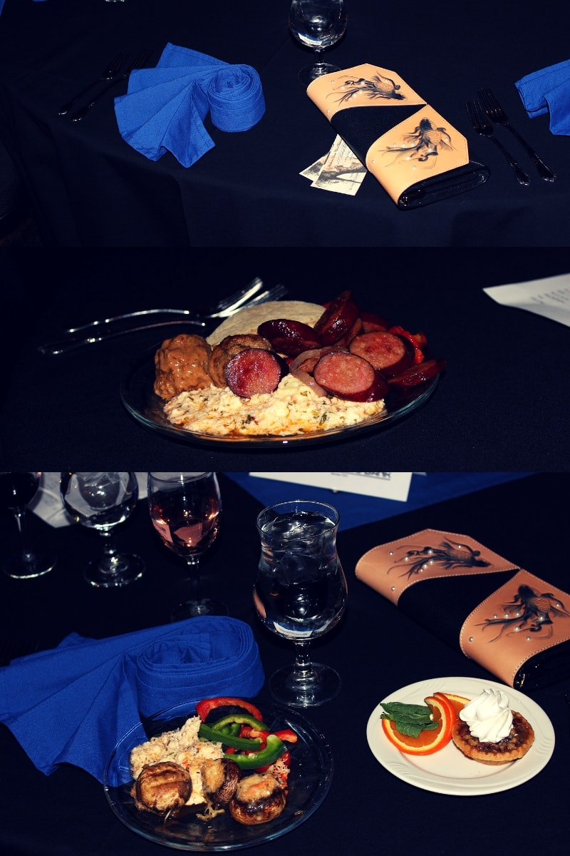 table decoration and food samples from an Alaskan buffet