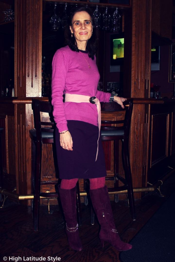 #winterstyle mature woman in monochromatic business casual attire
