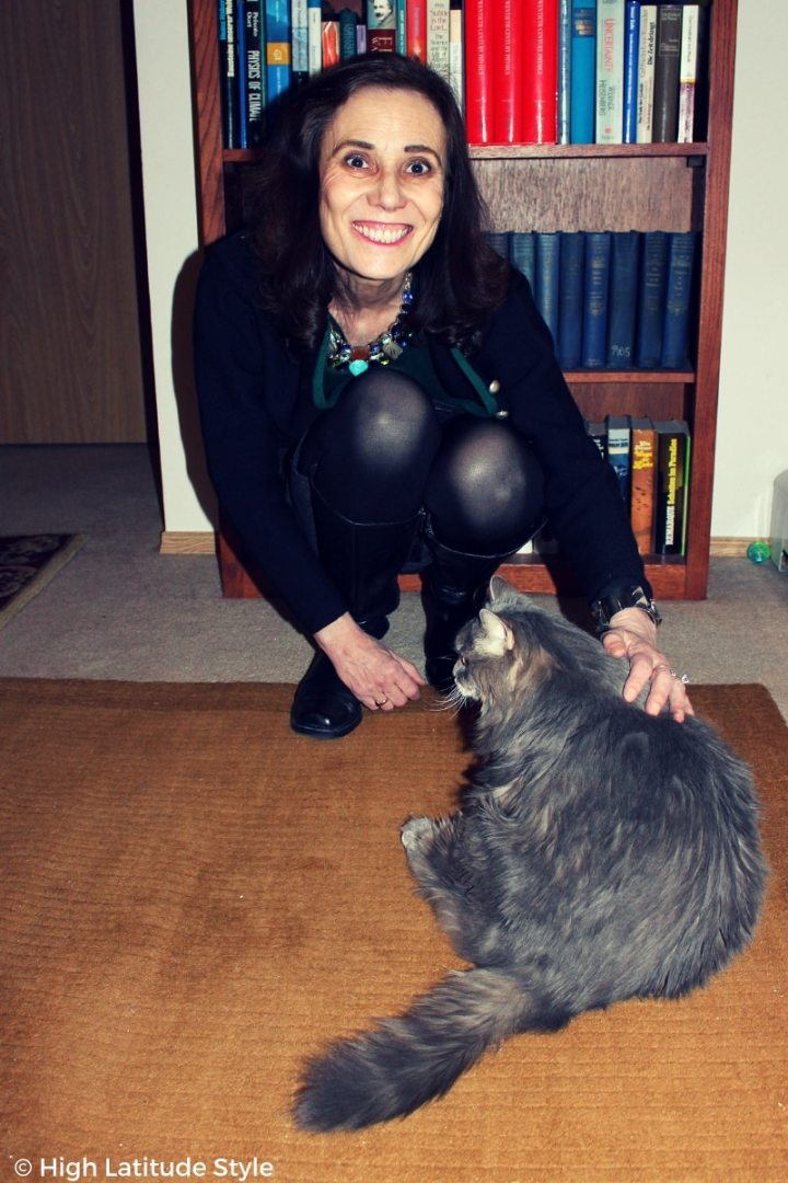 #catlover mature woman petting her cat