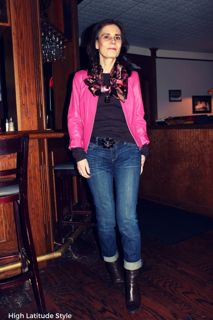 #leatherwoman blogger Nicole in business casual look with denim boyfriends and leather jacket