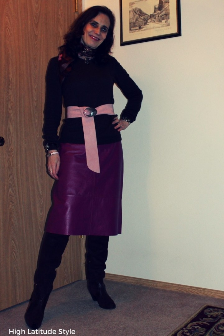 #midlifestyle over 50 years old woman in leather skirt, OTK boots and sweater