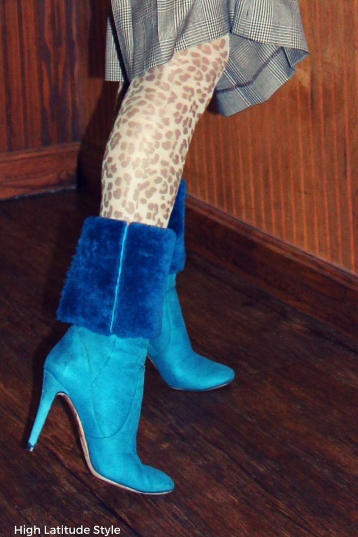#trendsover40 details of leopard print tights
