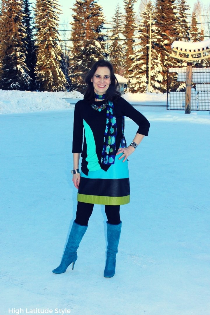 blogger Nicole in modest womens clothing with abstract flowers scarf and color blocked leather skirt