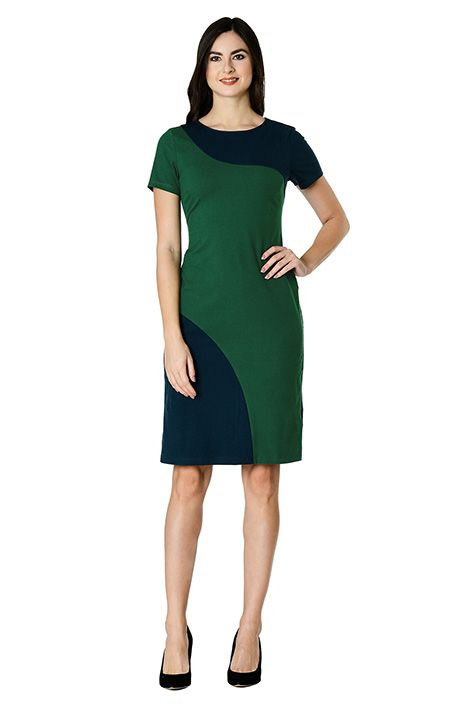 Green-blue color blocked dress