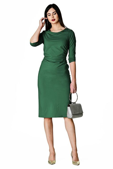 Green ruched sheath