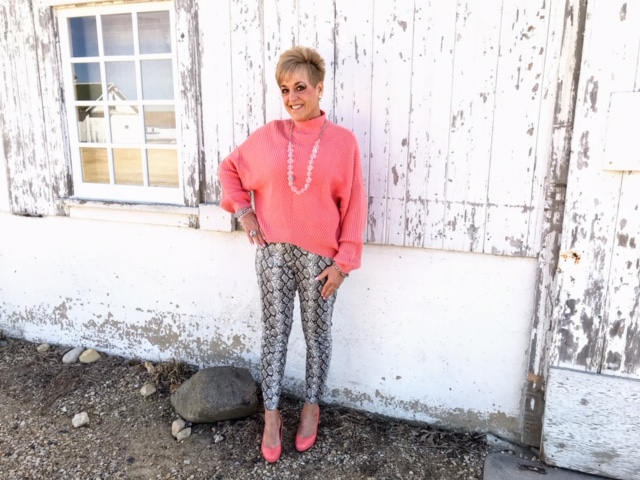 Julie Augustyn showing how to style Living Coral and snakeskin print in spring