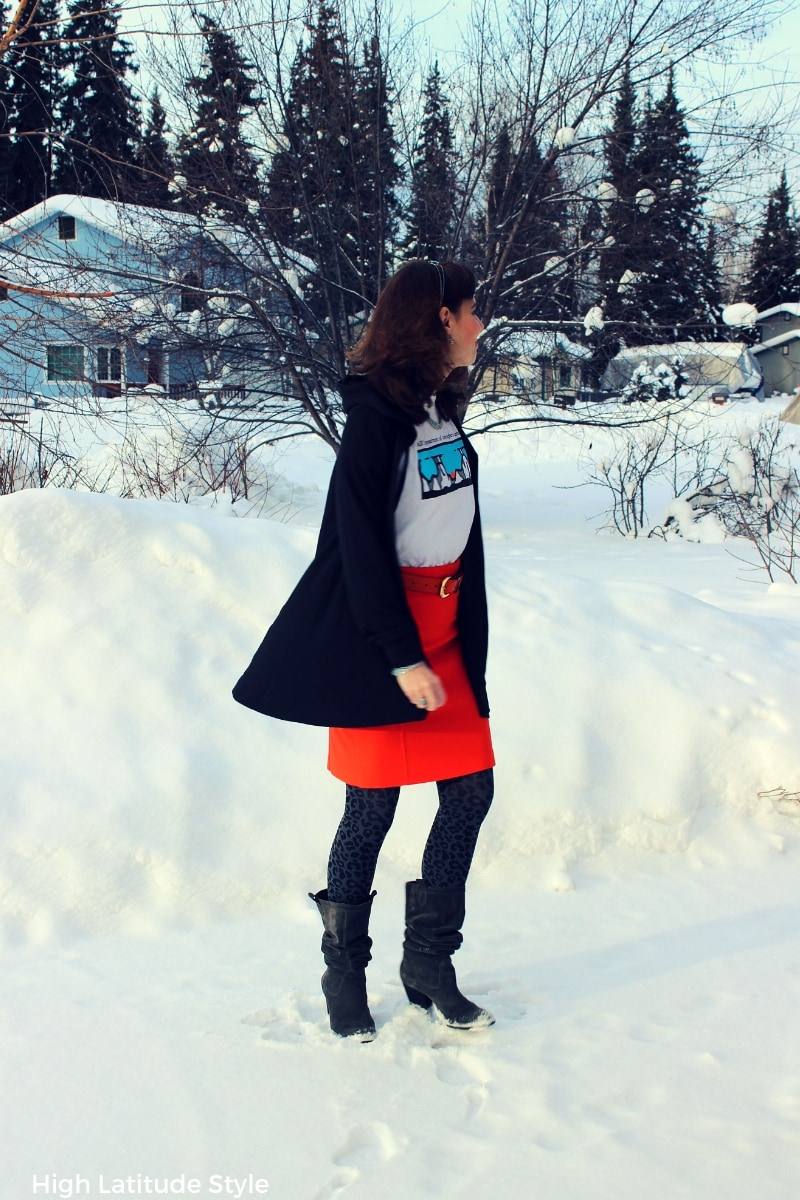 #TriciaTanaka #designerfashion fashion blogger in cape hoodie with skirt, boots and tee