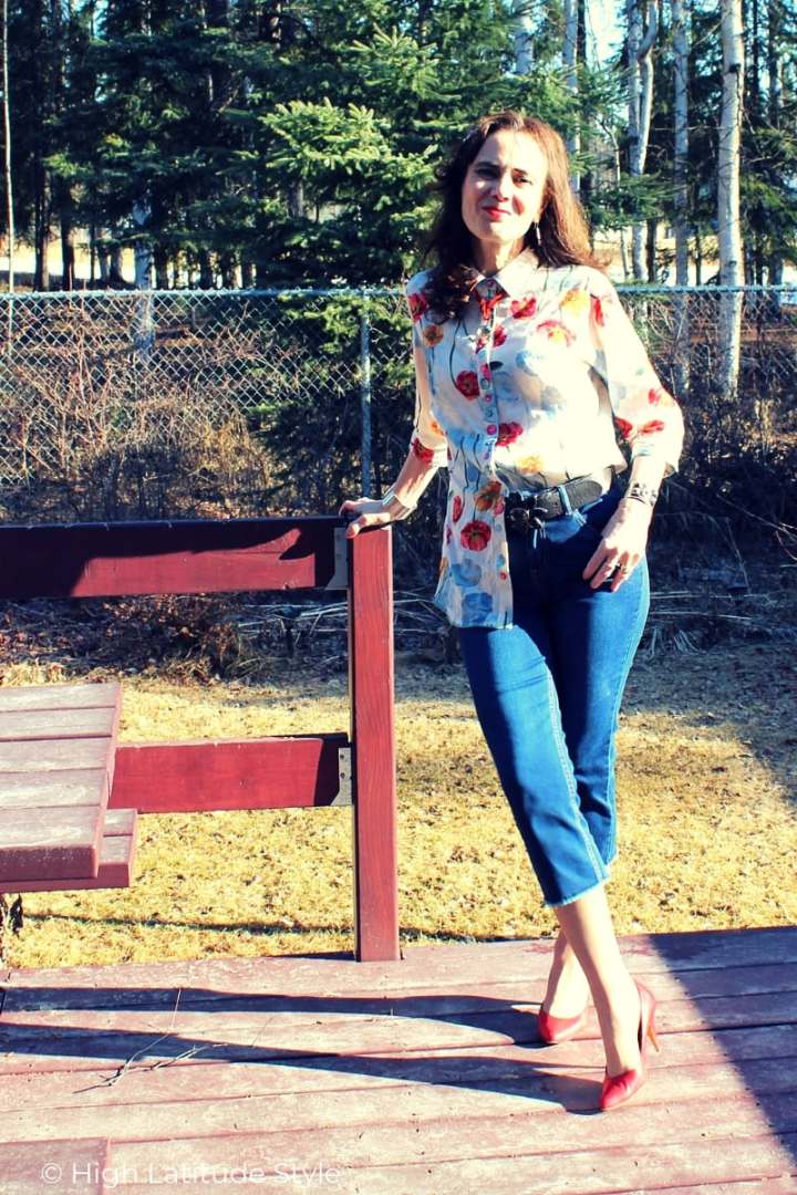 Review of an abstract floral print top and capri from Ethyl Clothing's spring arrivals