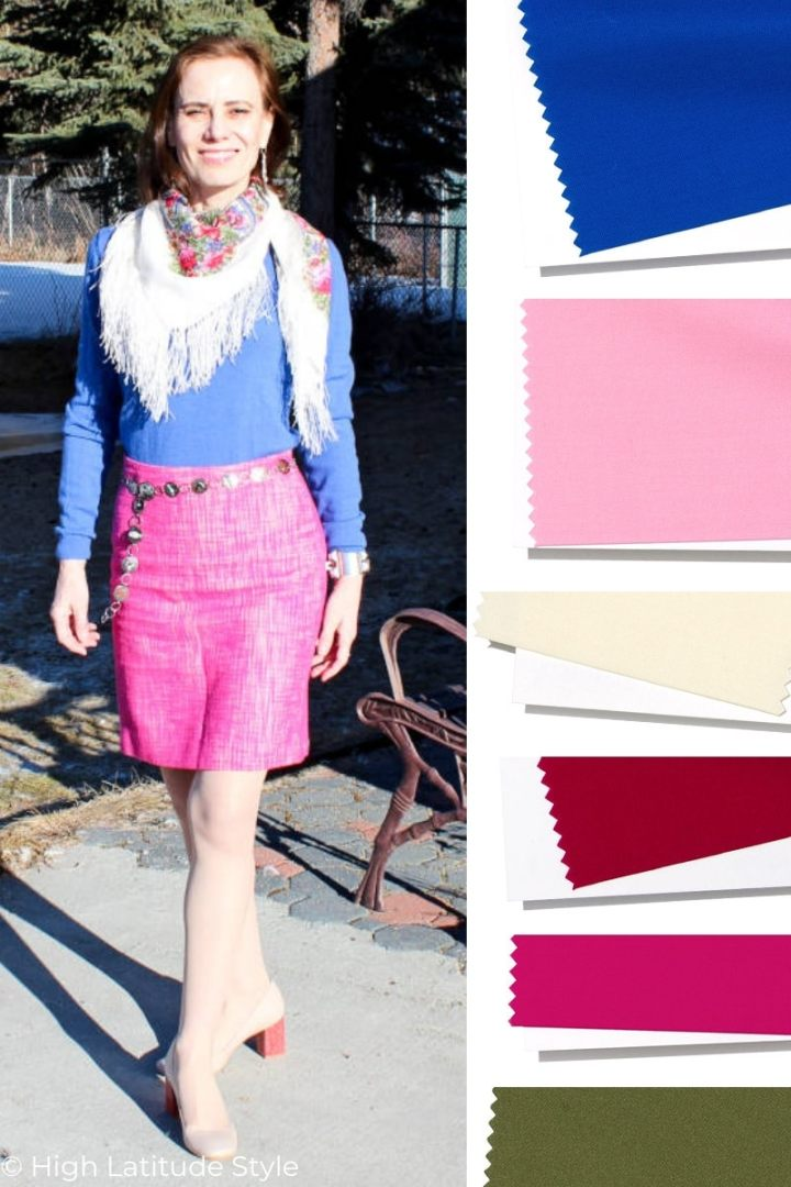 style blogger wearing Princess Royal top, Peacock pink skirt, sweet-corn pumps with Jester red heels and a floral scarf