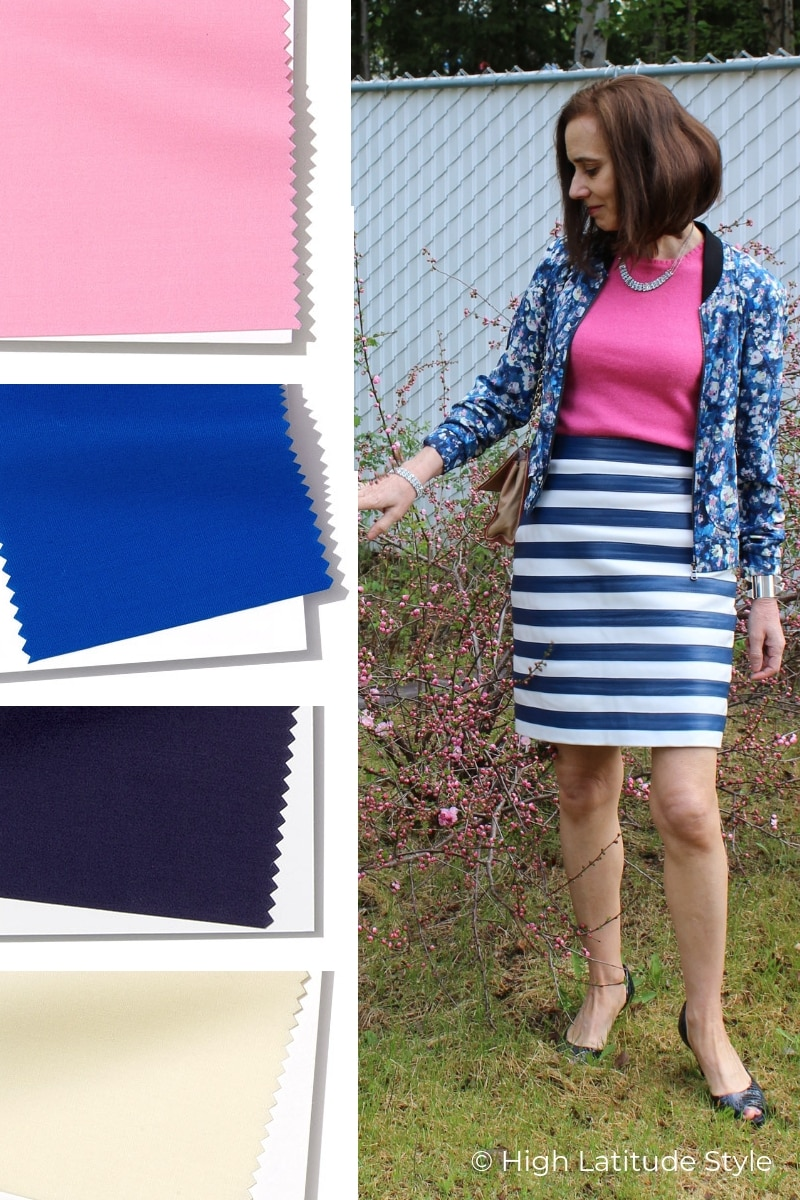blogger Nicole in Princess blue, pink, eclipse spring style with mix of floral and stripes