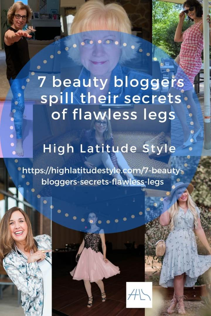 Collage of seven beauty bloggers who spill their secrets of flawless legs