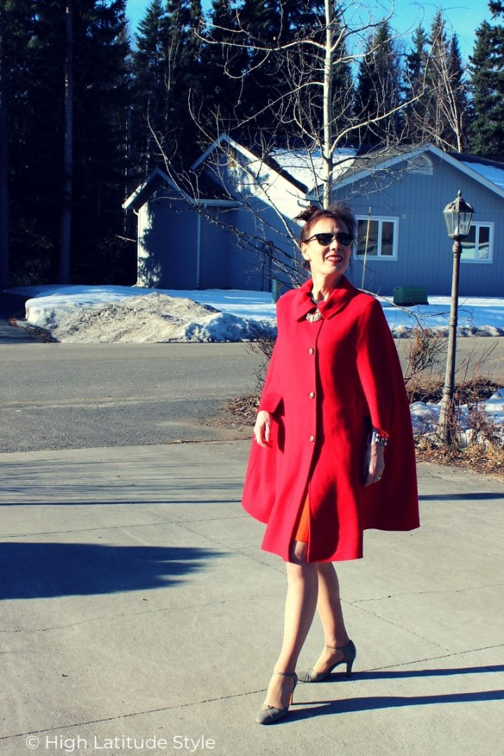blogger Nicole in red cape