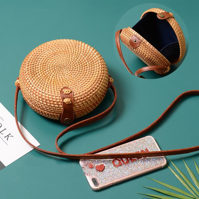 Fern women's round rattan crossbody bag