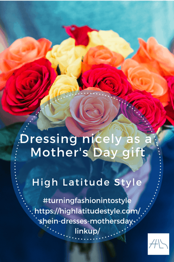 Dressing nicely as a Mother's Day gift post banner with outfit and colorful roses