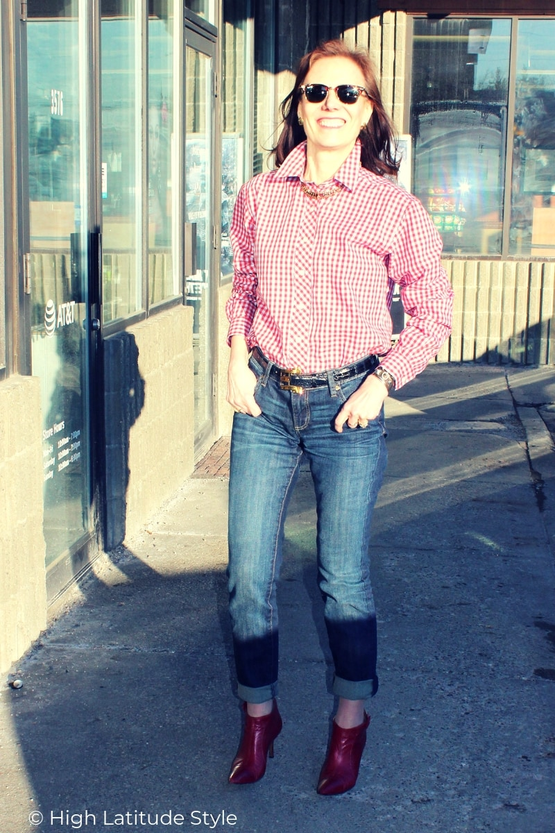 Nicole of High Latitude Style in preppy Casual Friday workoutfit