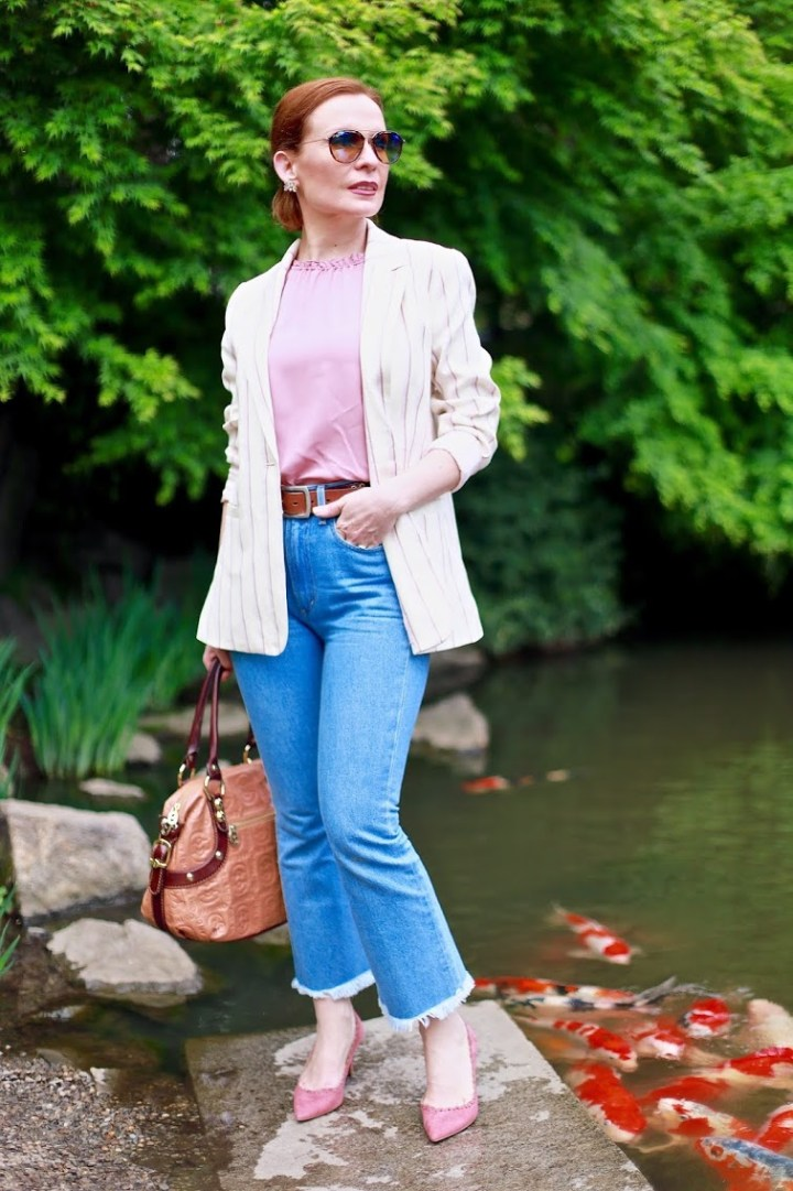 Top of the World Style Winner Tatiana Moskatova of My Fabulous Forties in business casual spring attire