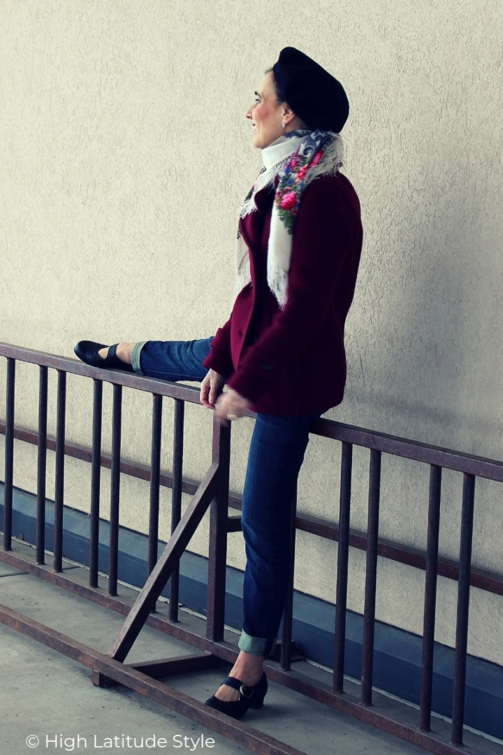 Alaskan blogger in spring outerwear with pea coat, denim pants, Russioan scarf and beret
